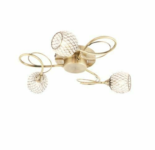 Aherne 3 light antique brass semi flush